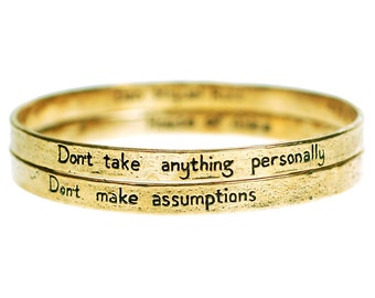 The Four Agreements Reminder Bangle Set (Brass)