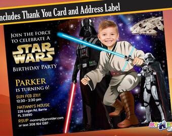 Star Wars Birthday Invitation. Turn your kid into a Jedi! Darth Vader & Captain Phasma. Star Wars Invitation. Star Wars Birthday Ideas..