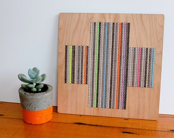 """Contemporary Geometric Cross Stitch Wall Hanging, Cross Pattern in Greys and Neons, 12"""" x 12"""""""