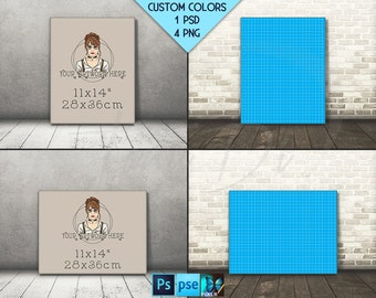 11x14 #F02 Portrait & Landscape Stretched Canvas on Wooden Floors, 4 Canvas Display Mockup,  PNG PSD PSE, Custom colors, 22x28 33x42