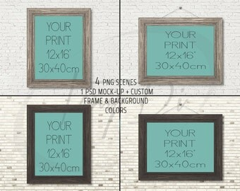 12x16 Light & Dark Wooden Portrait Landscape Frames on Brick Wall, 4 Print Display Mockups, PNG PSD PSE, Opening 30x40cm, Custom colors