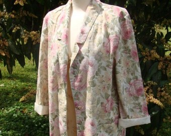 Women's Vintage Jacket/Size 12/Cabbage Roses/Shabby Chic