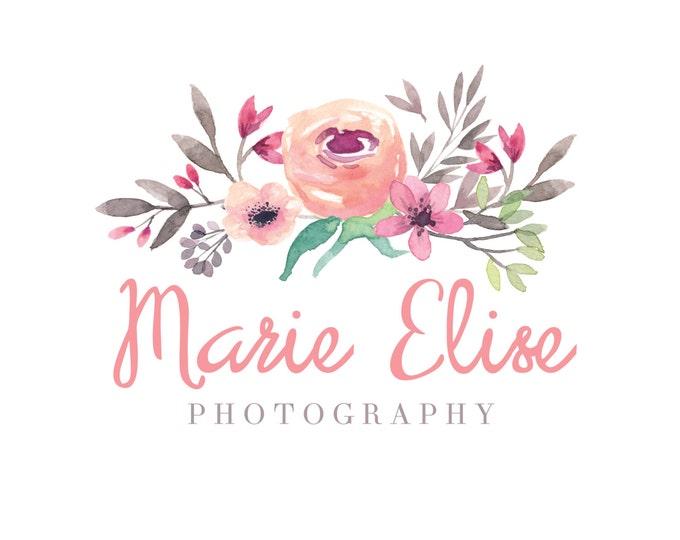 Watercolor Logo and Watermark - Floral -  Script Font - Professional Logo Design - Watermark - Premade Logo Design - PL10