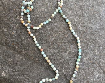 60 Inch Bead Necklace Hand Knotted Amazonite- Pale Blue Amazonite Long Beaded Necklace