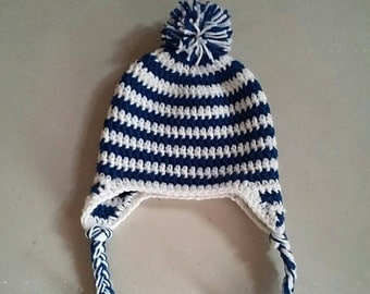 Colts Inspired Crochet Hat with Tassels,