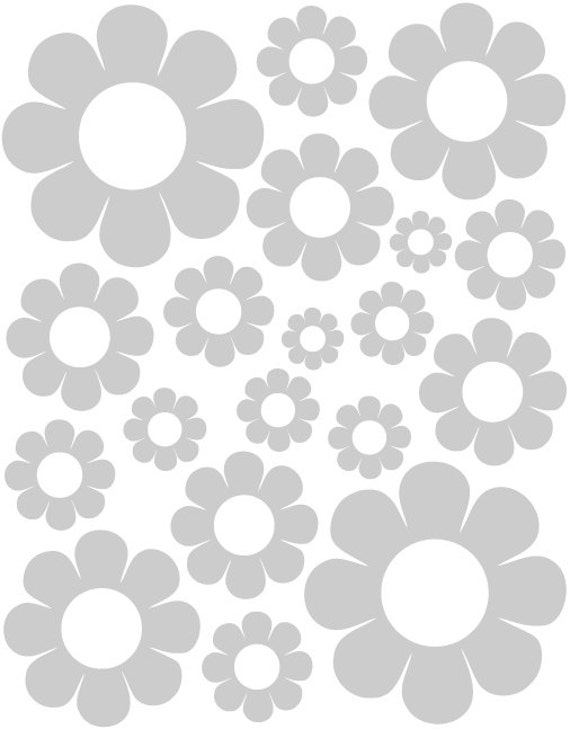 38 Satin Silver Daisy Vinyl Shaped Bedroom Wall Decals Stickers Daisies Kids Baby Nursery Dorm Room Removable Custom Made Easy to Install
