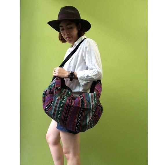 Cotton Bag, Crossbody Bag, Sling Bag, Hip Bag, Thai Bag, Shoulder Bag, Boho Hippie Bag (B 8)
