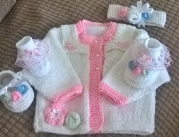 Baby Knitting Rosebud Cardi, hairband and ballet shoes