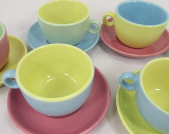 SALE Small Vintage cups and saucers in candy colors, pastel, set of 6, coffee cup, mocca cup, mid century pottery