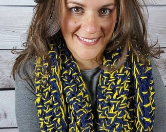 Michigan Infinity Scarf, Crochet Cowl Scarf, Circle Scarf, Loop Scarf, U of M Infinity Scarf - Can be worn 2 different ways!