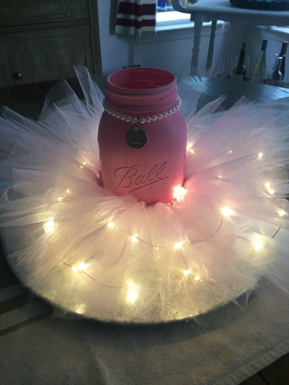 Baby shower wedding centerpieces with fairy lights