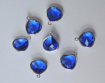 Royal Blue Drop, Glass Drop, Faceted Teardrop, Rhodium Plated Frame, One Piece, 15x18mm, Fast Shipping from USA