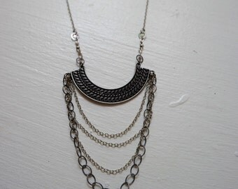 Swirling Tide || silver plated and sterling silver multi chain bib necklace || statement necklace with swirl detail