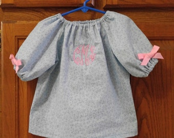 Monogrammed Peasant Dress for Baby/Toddler/, Back to School, Fall Dress, Winter Dress