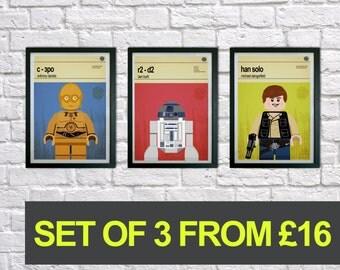 Lego Star Wars prints, Set of 3 prints, Mid Century Modern, Typography Print, Childrens Bedroom Art, Nursery Pictures, Kids art, Wall art