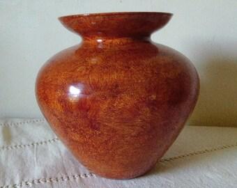 Vinegar painted glass vase in sienna