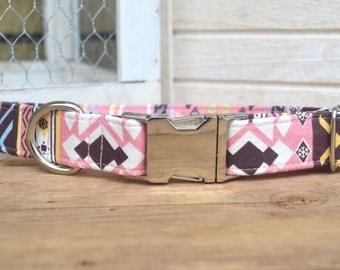 Tribal Dog Collar, Pink Native Dog Collar, Pink and Brown, Neutral, Female Dog Collar Pet Collar, Autumn, Metal Buckle