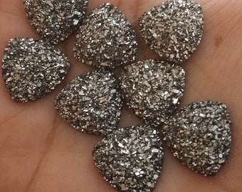 Gunmetal  faux druzy flat triangles 16mm Cabochons 6pcs (E4:6-139)