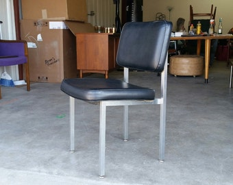 Vintage 1970's All Steel Desk Chair Mid Century Modern Black Vinyl MCM Excellent Condition
