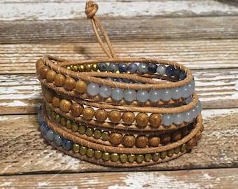 Healing Crystal Bracelet / Chan Luu Wrap Bracelet / Healing crystal Jewelry / Chakra Bracelet