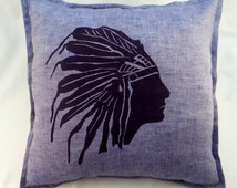 Native American Indian print pillowcase, natural linen pillowcase, button closure, decorative pillows, euro pillow, square pillow cases