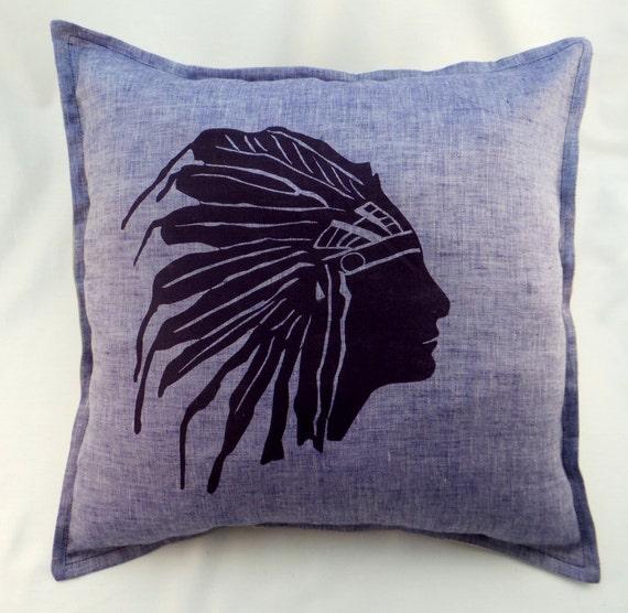 Throw Pillow Button Closure : Items similar to Native American Indian print pillowcase, natural linen pillowcase, button ...