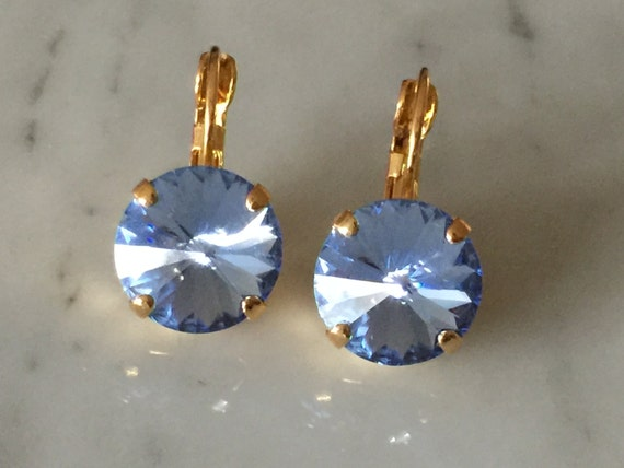 Swarovski Light Sapphire Earrings, Light Sapphire Crystal Earrings, Sapphire Crystal Gold Earrings, Swarovski Blue Earrings