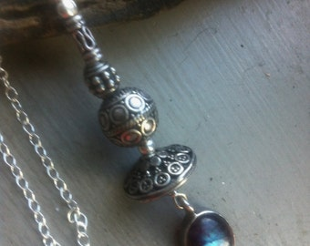 Sterling Silver Balinese Necklace Labradorite Pendant and Bali Necklace Bali Pendant Necklace 925 Sterling Silver Artisan Balinese Statement