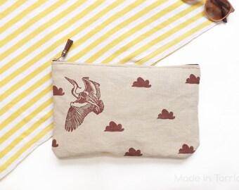 Block printed clutch: Heron and clouds (brown)