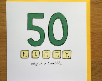 Fiftieth birthday card 50 50th scrabble happy birthday card fifty birthday card