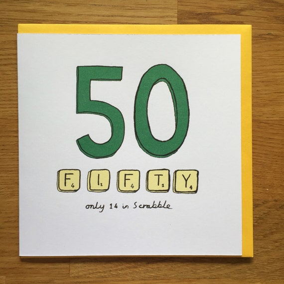 Fiftieth birthday card 50 50th scrabble happy birthday card – 50 Year Old Birthday Card