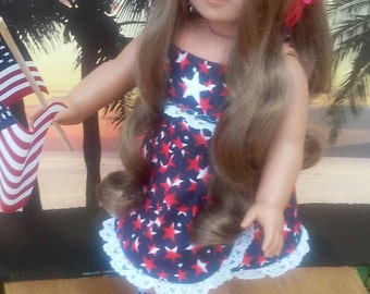 Patriotic outfit for 18 inch American Girl Kanani,Fashion Doll apparel,Handcrafted in USA for 18 inch dolls,Quality doll clothes