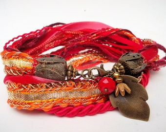 Fabric bracelet wrap bracelet red gold silk cords fabric necklace indian ribbon silk choker  red gold Hippie bracelet