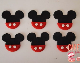 Mickey Mouse Fondant Cupcake Toppers: Set of 6 (MADE TO ORDER)