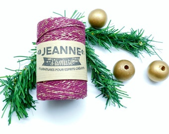 """1 Reel 100 m rope """"Baker's twine"""", plum and silver metallic thread, 2 mm thick 2 strands."""