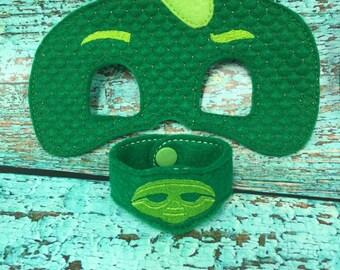 PJ Gecko Mask & Wrist band Set for Kids Dress Up, Costume, Pretend Play