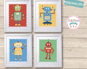 Robot friends,set of 4 prints, Childrens / Art Nursery Print,  Wall Decor,  Wall Art. Can be personalised with a name.