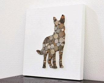 Rustic Modern Wall Decor, German Shepherd Decor, Silhouette Wood Wall Art, Dog Decor