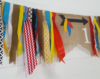 Tribal Wild One Arrow Burlap and Ribbon Highchair Bunting Garland Banner >>> First Birthday Party