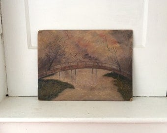 FolK Painting of Man Looking Over Bridge