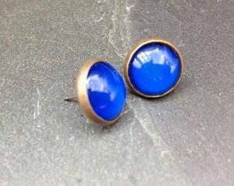 Blue Earrings Studs Large Earrings Dark Blue Bronze 12mm