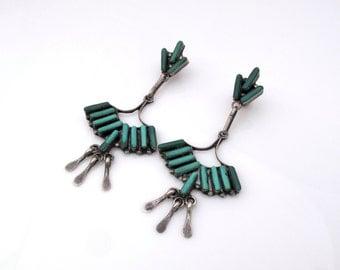Zuni Earrings, Zuni Turquoise Earrings, Native American Earrings, Zuni Dangle Earrings, Sterling Turquoise Needle Point,  A. Pinto