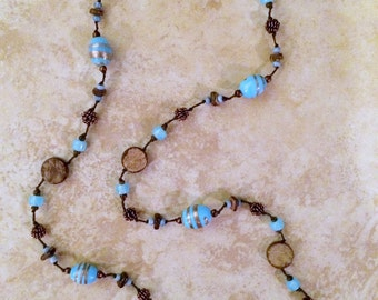 Long Stone Necklace, Ceramic Beads Necklace, blue, Rustic Necklace, Gift, Knotted Necklace, Bohemian Necklace, Boho Necklace, Stone and Wood