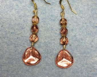 Rose gold Czech glass rose petal dangle earrings adorned with rose gold Czech glass beads.