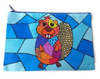 Cosmetic bag, pencil case, beaver pouche, beaver bag