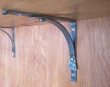 A pair of Simple Forged Shelf Brackets, handmade ironwork by Tom Fell - Blacksmith