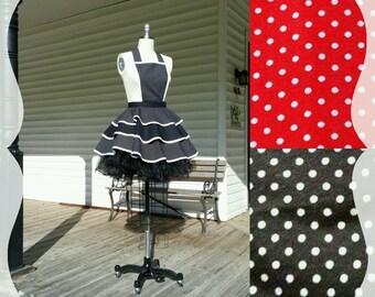 black Apron Polka-Dot with Petticoat XS S M L XL 2XL