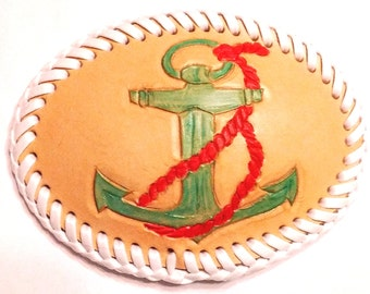 Hand Tooled Leather Belt Buckle Anchor