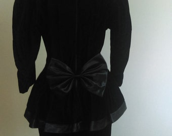 Vintage Kwai Black Velvet Dress with Peplum..