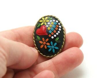 Brooch rooster barcelos, red heart brooch, black brooch, polymer clay, portuguese symbol